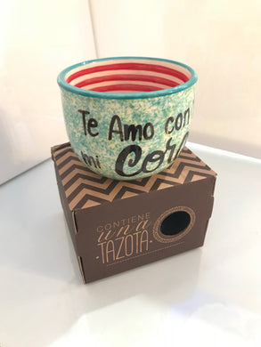 Tazota ,  Handcrafted Ceramic Piece , '' Te Amo con Todo mi Corazon  '' Make the moment extra especial with are quality mugs