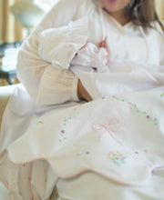 "Load image into Gallery viewer, The ""Welcome Little One"" Hand Embroidered Receiving Blanket"