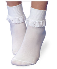 Load image into Gallery viewer, Jefferies White Eyelet Sock / Turn Cuff / Fancy Lace Sock Pack