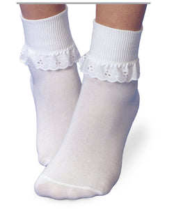 Jefferies White Eyelet Sock / Turn Cuff / Fancy Lace Sock Pack