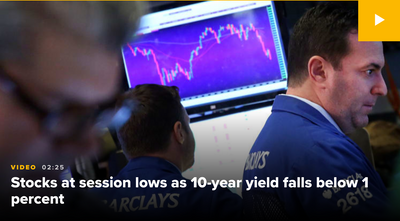 10-year Treasury yield falls below 1%