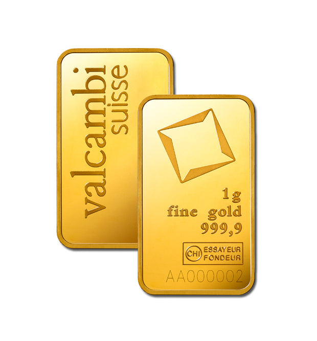 1 gram Valcambi gold bar (minted)