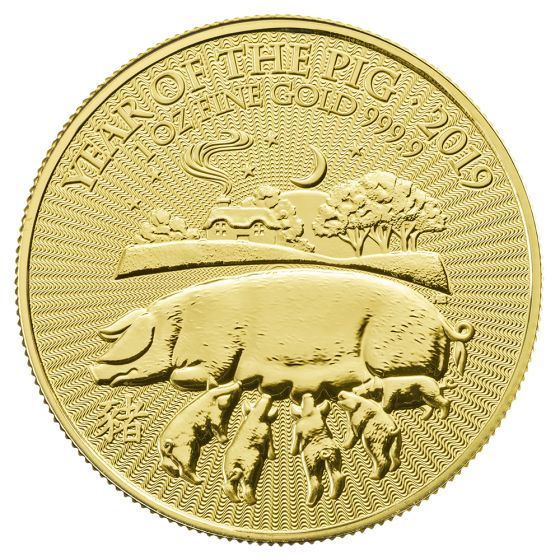 2019 1 oz Royal Mint Gold Lunar Pig