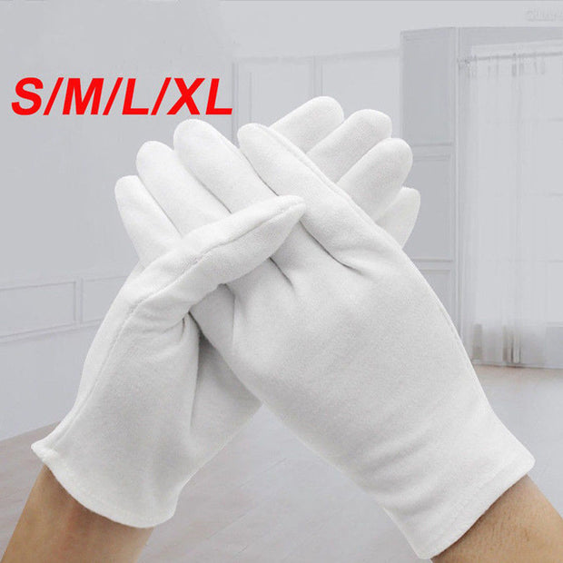 6Pair/Bag White Cotton Coin Gloves