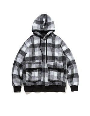 Plaid Polar Fleece Hoodie