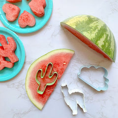 watermelon cut into fun shape with cutters