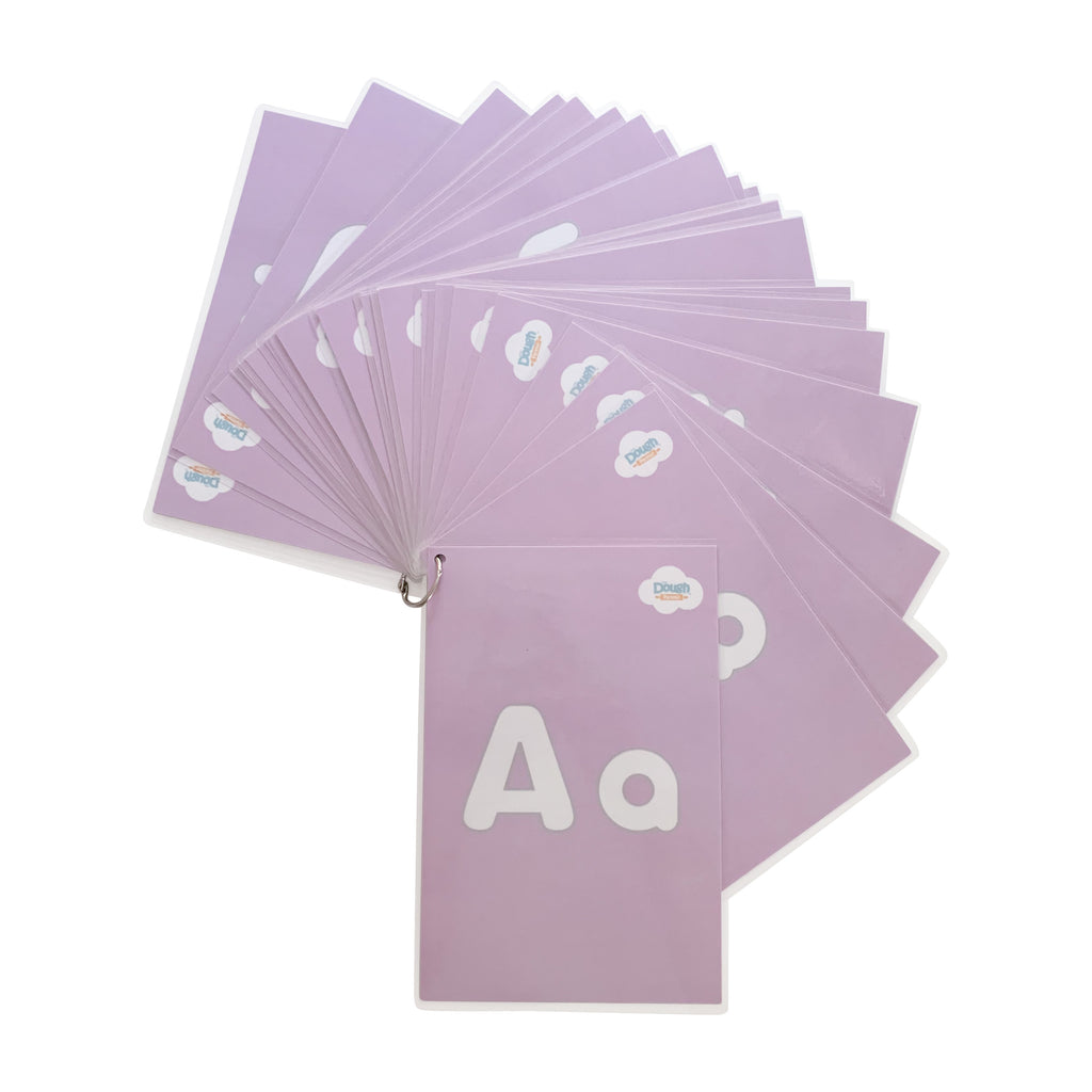 A pastel coloured deck of 26 laminated mats held together with a steel ring clasp, that can open to remove the cards, and close again to keep them organized