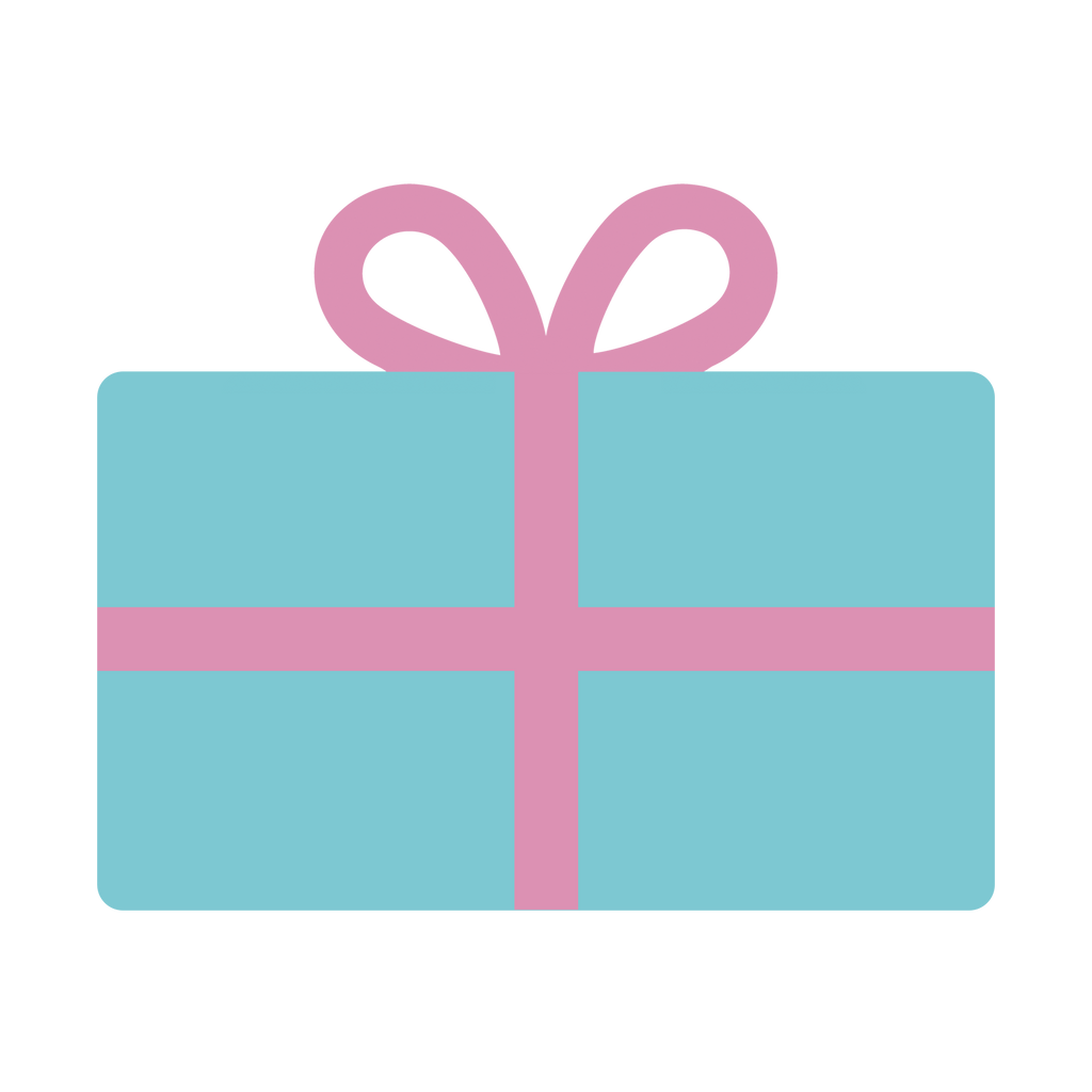Illustration of a teal gift card wrapped in pink ribbon