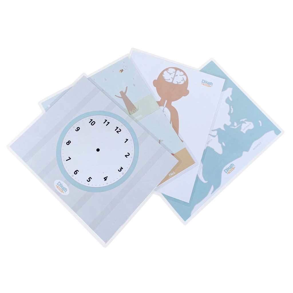 This educational 4-pack includes 8 scenes (4 fully-laminated, front and back mats), including our Telling Time mat, our World Continents mat, our My Body mat, and our Four Seasons mat