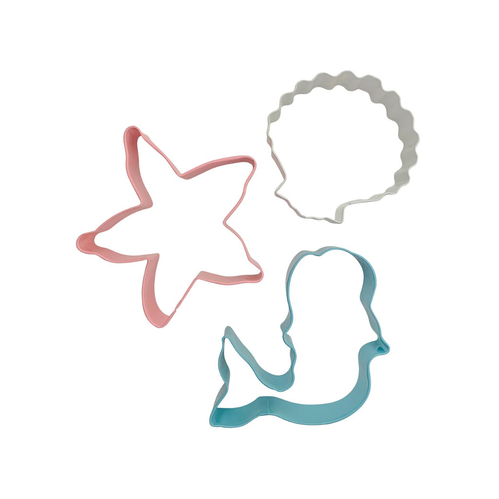This adorable set includes 3 large cutters: a turquoise mermaid, a pink starfish and a white seashell