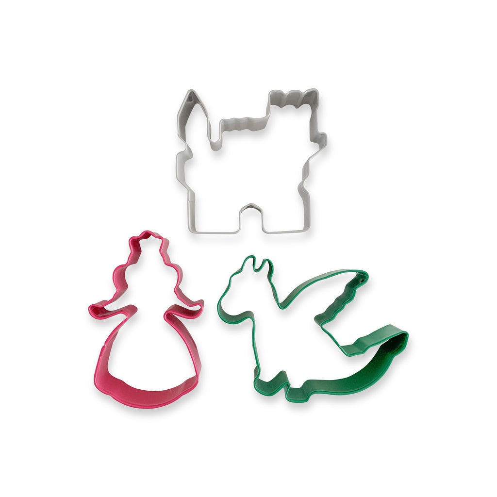An adorable set of fairytale shape cutters, featuring one pink princess, one green dragon, and one grey castle