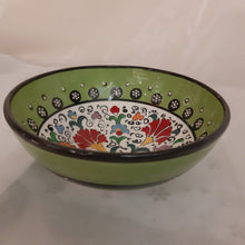 "6"" green/white patterned Turkish bowl"