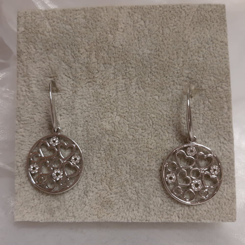 Park lane Earings silver circles with hearts