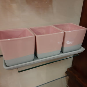 Set of 3 pink pots with tray