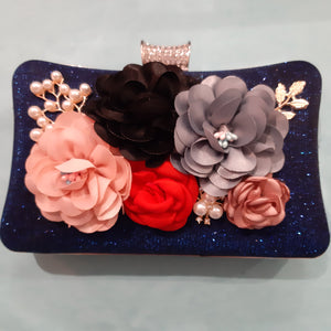 Navy satin /flowers on front clutch bag