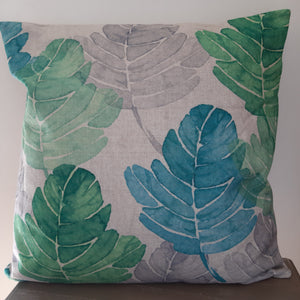 Green/ cream leaf cushion