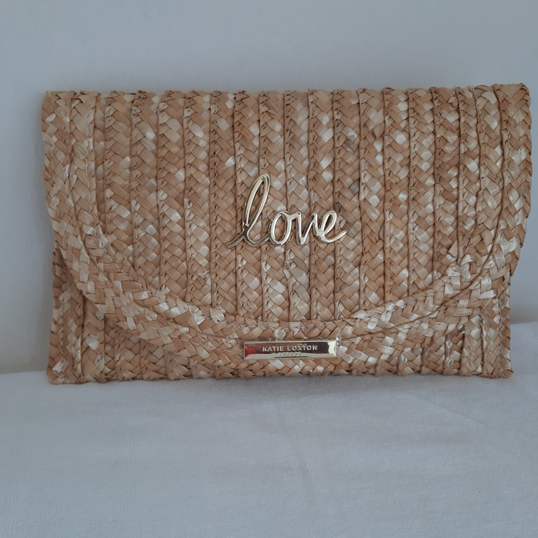 Katie Loxton love basket weave clutch bag