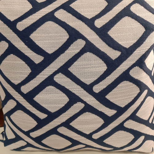 Blue/cream patterned cushion