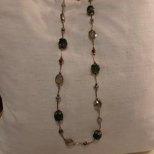 Long green/grey stone necklace
