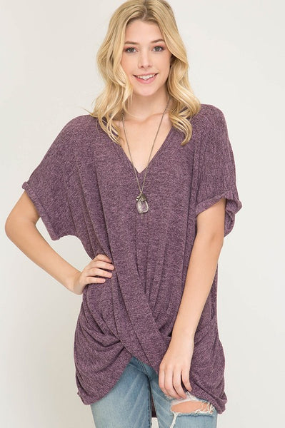 Ariel V neck Knit Front Cross Top