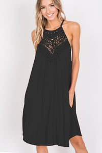 Curvy Cali lace halter neck dress with pockets