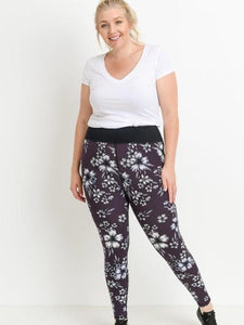 Curvy Highwaist Plum Hibiscus Leggings