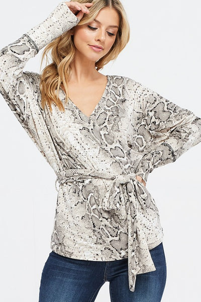 Snakeskin V-Neck Top with tie (S-XL)