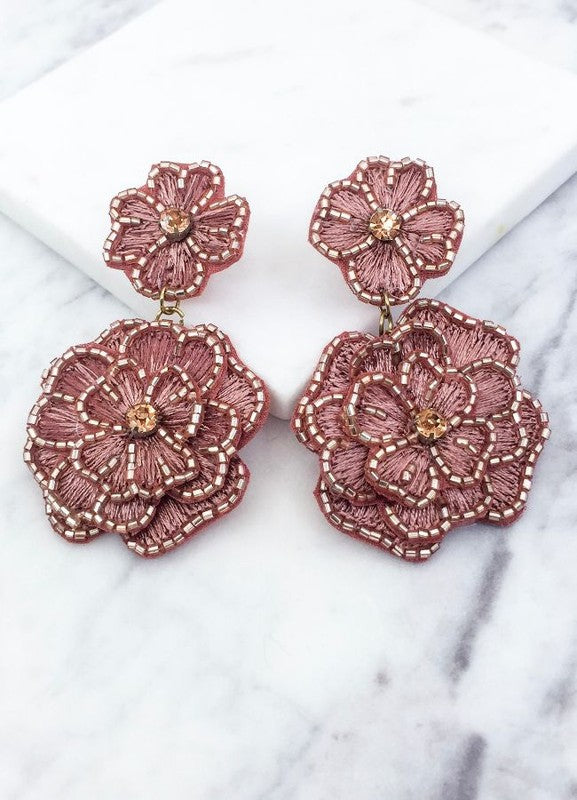 Beaded Flower Statement Earring