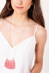 Perfectly Pink Fringe Necklace