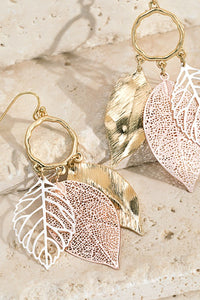Multi Tone Leave dangle earrings