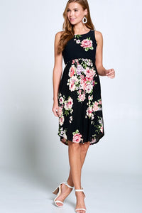 Floral Sleeveless Dress with Pockets