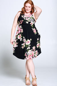 Curvy Floral Sleeveless Dress with Pockets