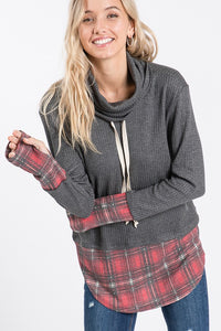 Plaid cowl neck top S-XL