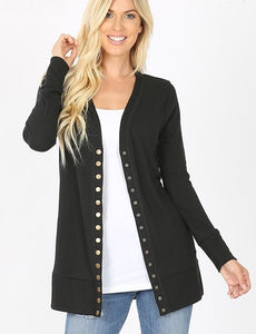 Black Snap Cardigan S-XL
