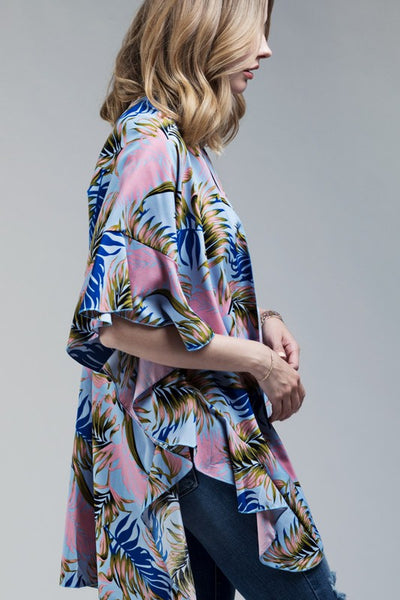 Tropical Breeze Kimono with Ruffle Sleeve