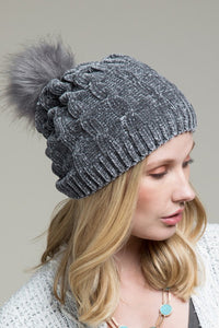 Chenille Pom Beanie  2 Colors