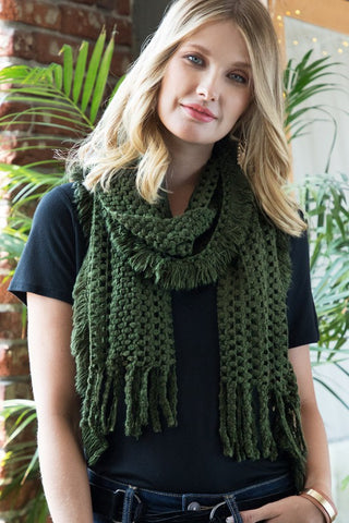 Fall Scarf with Frayed Fringe-2 Colors