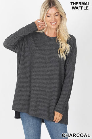 Brushed Thermal Round Neck drop sleeve top S-XL