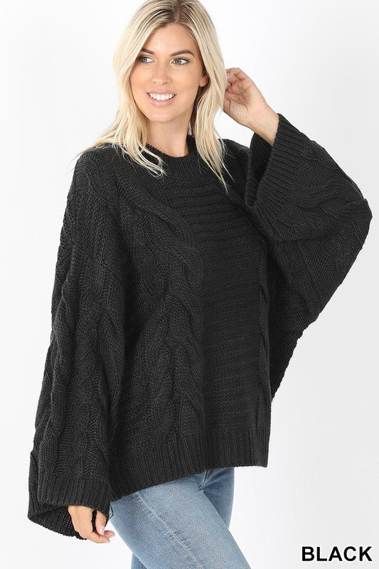 Oversized Bell Sleeve Cable knit sweater S-XL