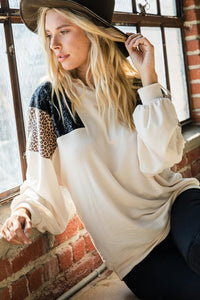 Animal & Sequin Bubble Sleeve top S-XL