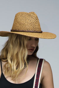 Panama Sun hat with beaded trim