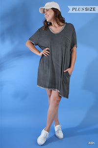 Curvy Lola Washed V-neck Tee Tunic with Pocket