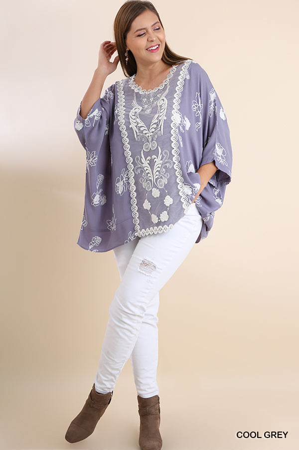 Plus Bella Floral Embroidered Dolman Sleeve Top with Front Lace Detail