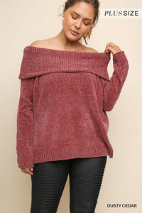 Curvy Blair long sleeve Chenille Knit Pullover dual wear Sweater