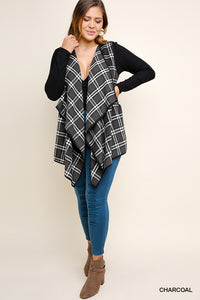 Curvy Fall is in the air sleeveless Plaid open Sweater Vest