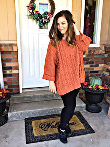 Hey Pumpkin! Cuffed Long Sleeve Chenille Cable pullover sweater