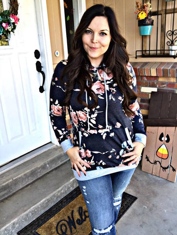 Serene Floral Hooded Sweatshirt