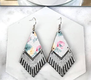 Floral Fringe Leather Earrings