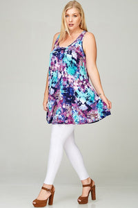 Curvy Multi Tye Dye Printed Tank Tunic Dress with Racerback