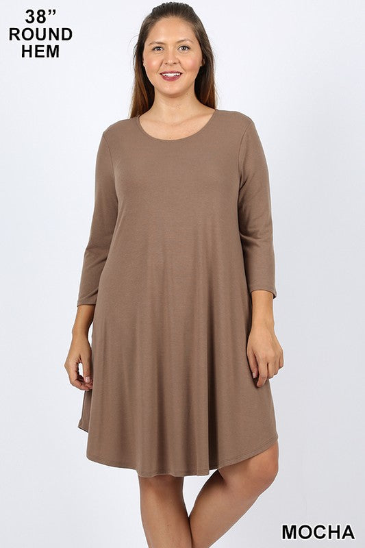 Curvy Lauren Long sleeve Dress with Pockets